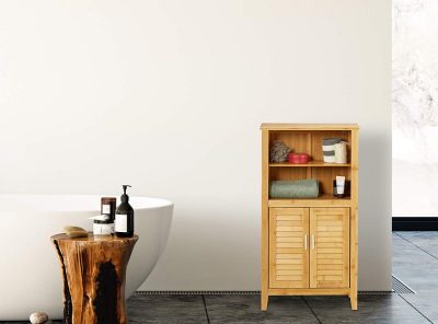 Armario de baño de bambú 2 asas y 2 puertas