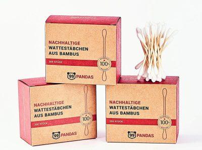 Bastoncillos de algodón de bambú sostenibles paquete de 4, vegano, sin plástico