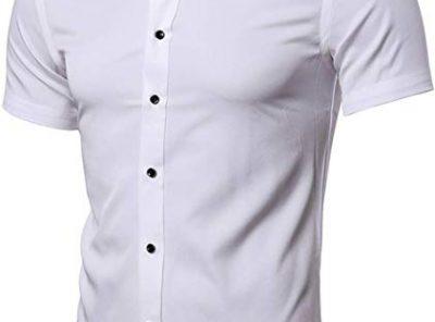 Camisa bambú fibra Hombre Manga corta formal casual