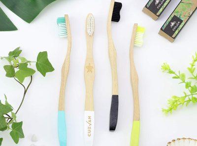 Set de 4 cepillos de dientes de bambú ecológico orgánico