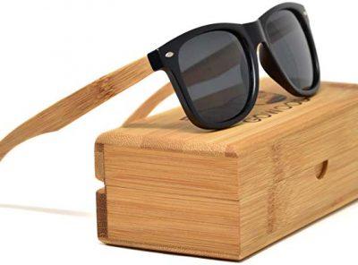Gafas de sol de bambú unisex frontal negro mate
