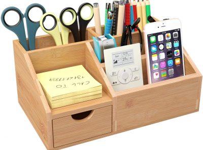 organizador escritorio de bambu