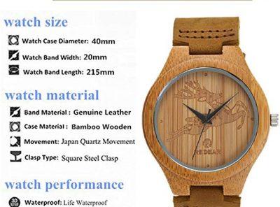 Reloj de madera de bambú mujer