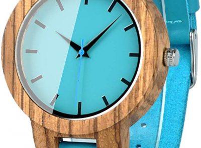 reloj madera bambu hombre mujer bobo azul