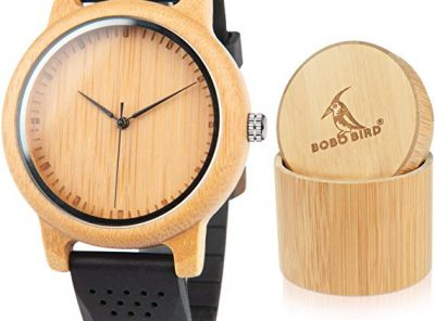 reloj de bambu unisex bobo cuarzo analogico
