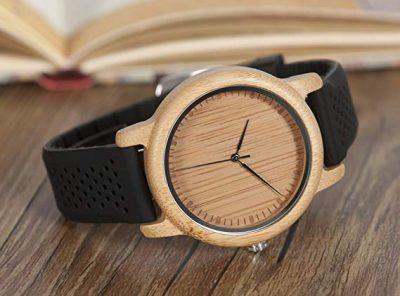 Reloj de madera de bambú unisex Bobo cuarzo analógico japonés