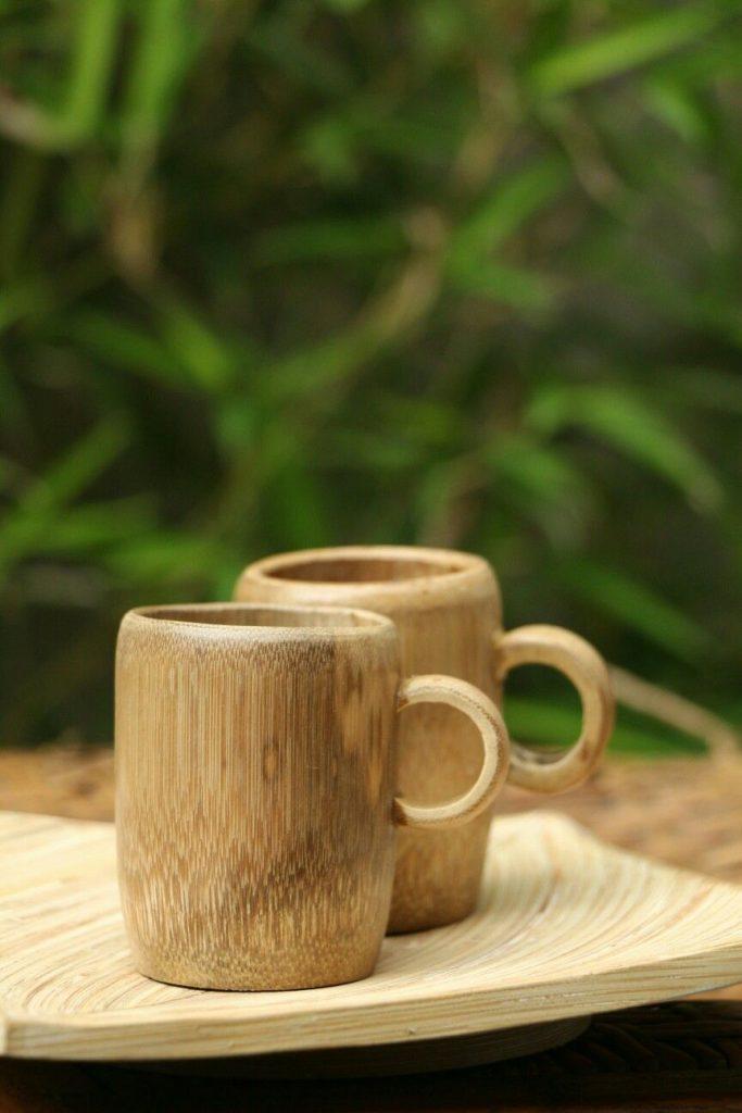 tazas o vasos de bambú