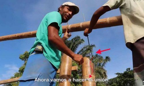 Estructura, columnas y uniones de bambú